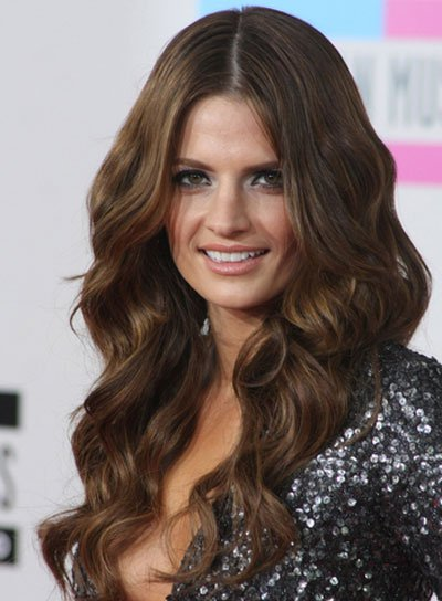 Stana Katic Long, Wavy, Sexy, Brunette Hairstyle