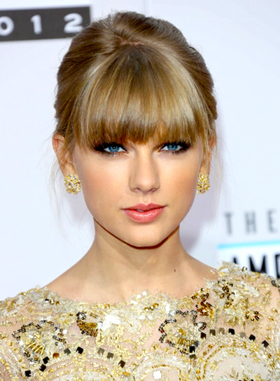 Taylor Swift's Blonde, Party, Updo Hairstyle with Bangs