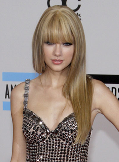 Taylor Swift Long, Straight, Blonde Hairstyle with Bangs