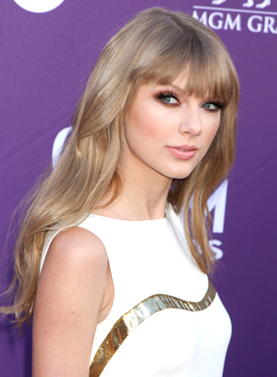 Taylor Swift's Long, Wavy, Romantic, Blonde Hairstyle with Bangs