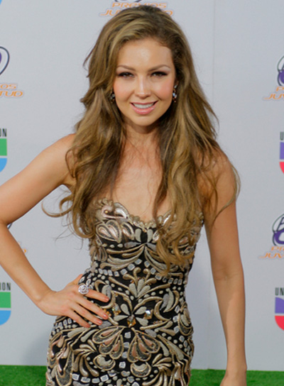 Thalia Long, Wavy, Tousled, Sexy, Brunette Hairstyle