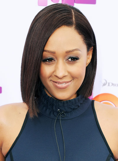 Tia Mowry with a Short, Straight, Brunette, Bob Hairstyle Pictures