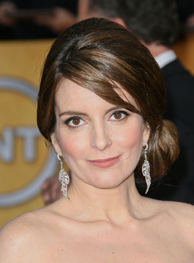 Tina Fey Sophisticated, Straight, Brunette Updo with Bangs