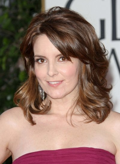 Tina Fey Medium, Wavy, Romantic, Formal, Brunette Hairstyle with Highlights and Bangs