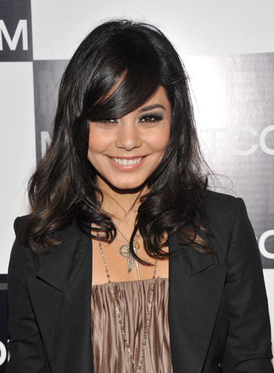 Vanessa Hudgens Medium, Sexy, Curly, Black Hairstyle with Bangs