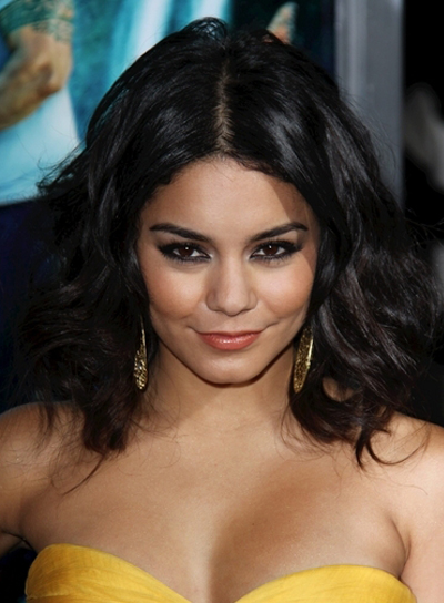 Vanessa Hudgens Medium, Wavy, Tousled, Black Bob