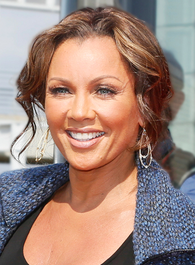 Vanessa Williams' Wavy, Brunette, Updo Hairstyle with Highlights