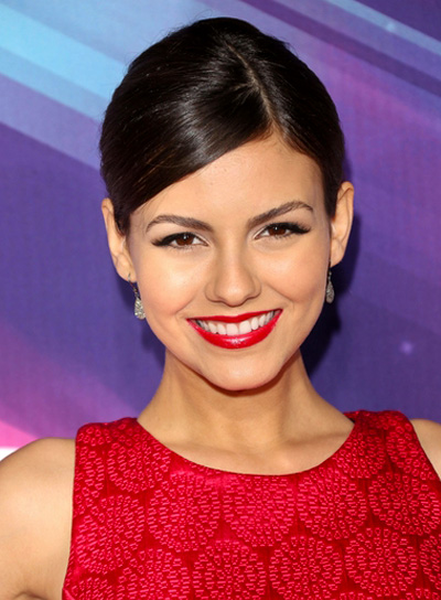 Victoria Justice's Chic, Sophisticated, Brunette, Updo Hairstyle