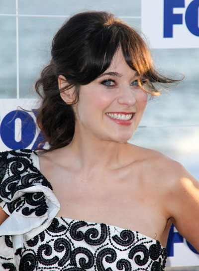Zooey Deschanel Chic, Brunette Ponytail with Bangs