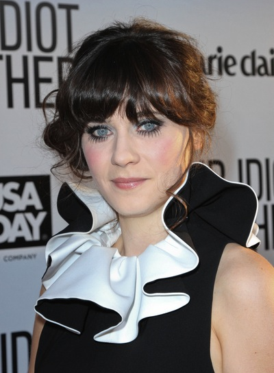Zooey Deschanel Tousled, Funky, Brunette Updo with Bangs