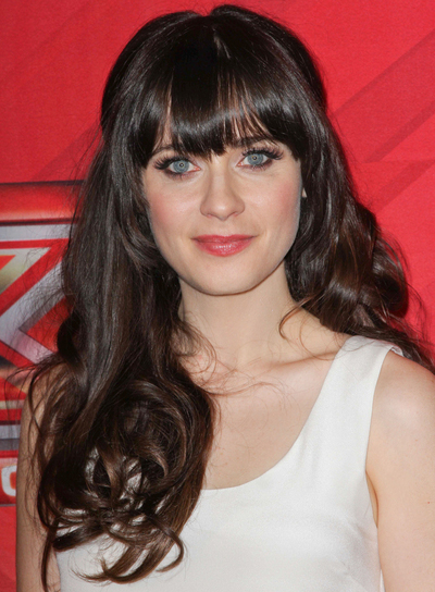 Zooey Deschanel Curly, Thick, Brunette Hairstyle with Bangs