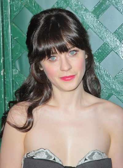 Zooey Deschanel's Curly, Romantic, Brunette, Half-Updo Hairstyle with Bangs