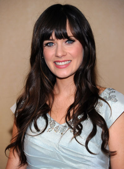 Zooey Deschanel Long, Curly Hairstyle with Bangs