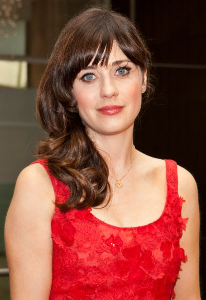 Zooey Deschanel's Medium, Formal, Romantic, Brunette Hairstyle with Bangs